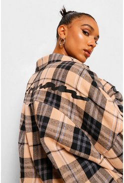 Black Slogan Back Print Oversized Checked Shirt