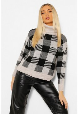 Black Roll Neck Dogstooth Jumper