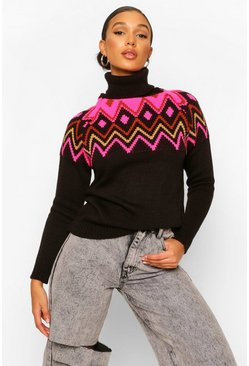 Black Roll Neck Fairisle Jumper