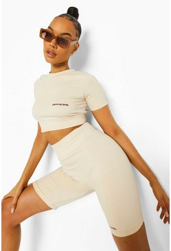 Stone beige Seamless Body Sculpting Short Sleeve Active Crop
