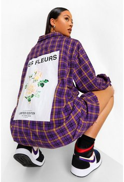 Purple Rose Back Print Check Oversized Shirt Dress