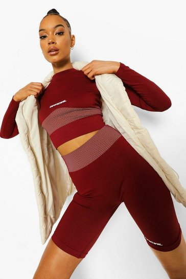 Burgundy red Seamless Body Contouring Active Cycling Shorts