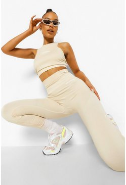 Stone beige Seamless Body Contouring Active Leggings