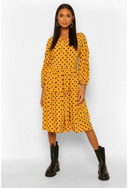 Mustard yellow Polka Dot Oversized Midi Smock Dress