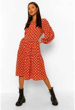 Terracotta orange Polka Dot Oversized Midi Smock Dress