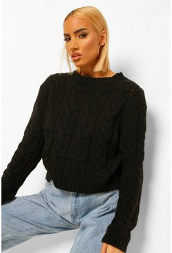 Black Soft Knit Oversized Cable Jumper