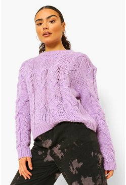 Lilac purple Soft Knit Oversized Cable Jumper
