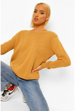 Camel beige Shoulder Pad Jumper