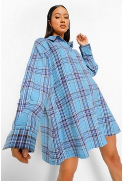 Blue Dove Back Print Oversized Check Shirt Dress