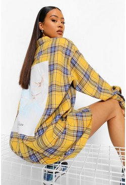 Mustard yellow Dove Back Print Oversized Check Shirt Dress