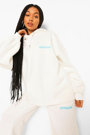 Cream white White Oversized Slogan Hoodie