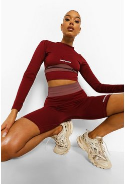 Crop top de sport moulant sans coutures à manches courtes, Burgundy rouge