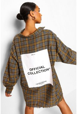 Charcoal grey Tonal Check Oversized Back Print Shirt Dress