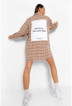 Stone beige Tonal Check Oversized Back Print Shirt Dress