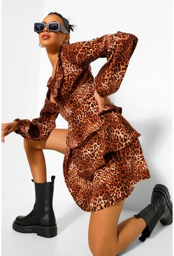 Brown Leopard Ruffle Plunge Tiered Skater Dress