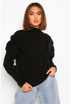 Black Cable Knit Ruffle Sleeve Sweater