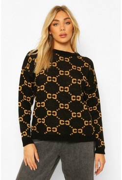 Black Chain Print Jumper