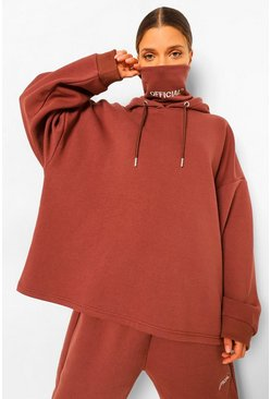 Chocolate brown Oversized Slogan Snood Hoodie