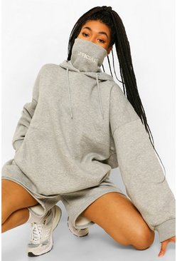 Grey marl Oversized Slogan Snood Hoodie