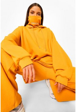 Mustard yellow Oversized Slogan Snood Hoodie