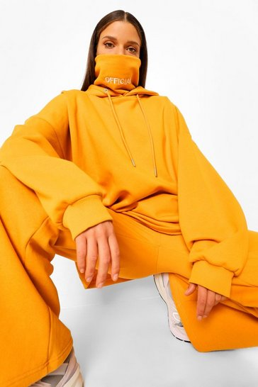 Mustard yellow Yellow Oversized Slogan Snood Hoodie