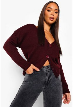 Berry red V Neck Cardigan
