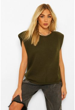 Shoulder Pad Knitted Jumper, Khaki kaki