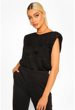 Glitter Shoulder Pad Knitted Top, Black negro