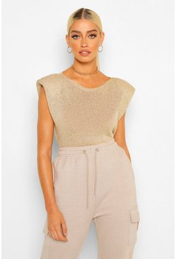 Gold Glitter Shoulder Pad Knitted Top