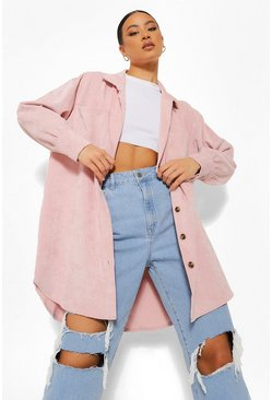 Pink Suede Look Pocket Detail Shacket