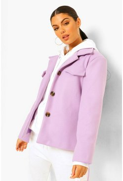 Lilac purple Belted Wool Look Crop Trucker