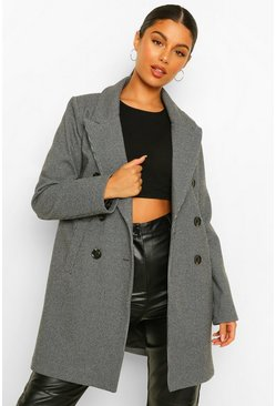 Black Houndstooth Double Breasted Wool Look Coat