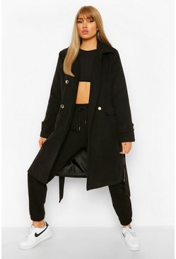 Black Double Breasted Military Belted Wool Look Coat