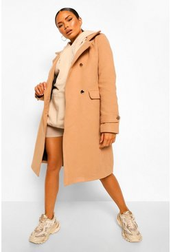 Camel beige Double Breasted Military Belted Wool Look Coat