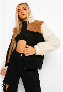 Camel Colourblock Teddy Faux Fur Jacket