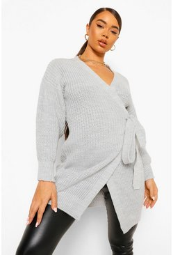 Balloon Sleeve Wrap Maxi Cardigan, Grey gris