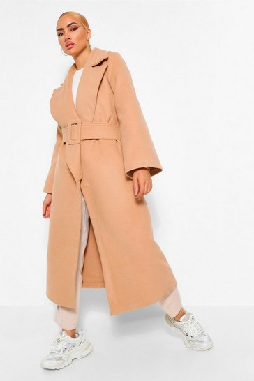 Camel beige Self Belt Wide Sleeve Wool Look Coat
