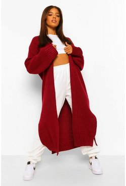 Berry red Chunky Maxi Cardigan