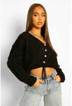 Black Crop Drawstring Hooded Cardigan