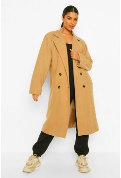 Camel beige Oversized Boyfriend Wool Look Coat