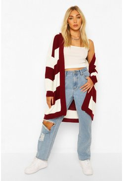 Berry red Stripe Midi Cardigan