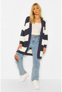 Stripe Midi Cardigan, Blue bleu