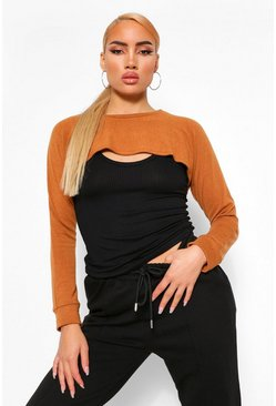 Camel 2 In 1 Knitted Top & Arm Warmer