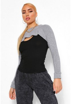 Grey 2 In 1 Knitted Top & Arm Warmer