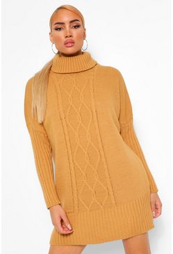Roll Neck Cable Jumper Dress, Camel beige