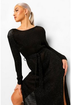 Black Glitter Shoulder Pad Knitted Maxi Dress