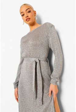 Silver Glitter Shoulder Pad Knitted Maxi Dress