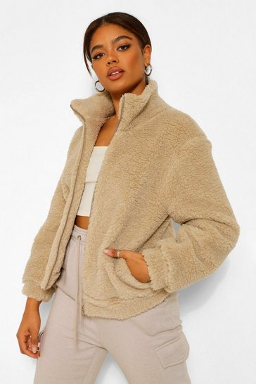 Stone beige Teddy Faux Fur Jacket