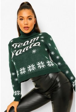 Bottle green Team Santa Roll Neck Christmas Jumper