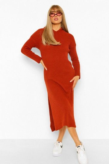 Rust orange Hooded Rib Knit Midi Dress